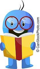 blaues, abbildung, karikatur, vektor, hintergrund, caracter,...