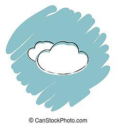 blaues, abbildung, vektor, hintergrund, wolke, ikone
