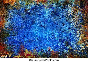 blaues, abstrakt, grunge, hintergrund, beschaffenheit