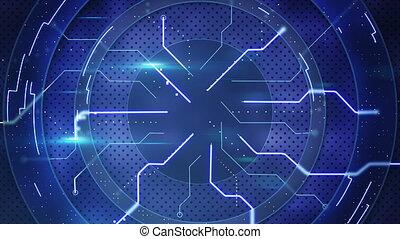 blaues, abstrakt, high-tech-, loopable, zurück