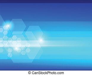 blaues, abstrakt, hintergrund, sechsecke