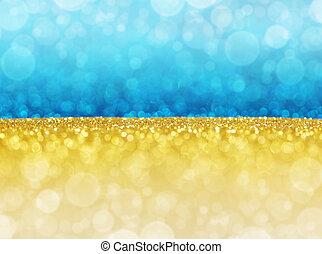 blaues, abstrakt, lights., bokeh, gold