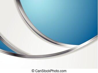 blaues, abstrakt, metallisch, hintergrund, wellen, silber