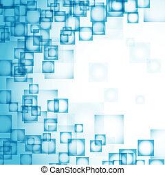 blaues, abstrakt, quadrate, hintergrund