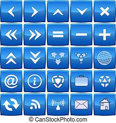blaues, abstrakt, vektor, satz, ikone