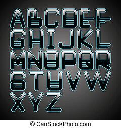 blaues, alphabet, glühen