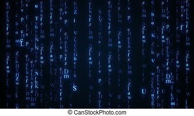 blaues, alphabet, matrix, rain., seamless, schleife, animation