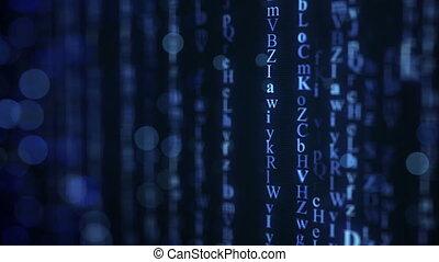 blaues, alphabet, matrix, regen, auf, screen., seamless, schleife, animation.