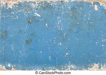 blaues, alter, pappe, markierungen