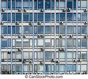 blaues, altes , zentrieren, geschaeftswelt, windows, konditionierer, luft, kyiv, los, fassade