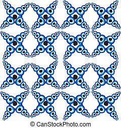 blaues, amulett, linie, vektor, kunst