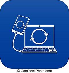 blaues, anschluss, smartphone, vektor, ikone