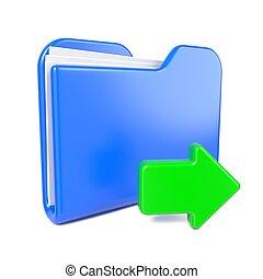 blaues, arrow., büroordner, grün