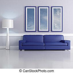 blaues, aufenthaltsraum