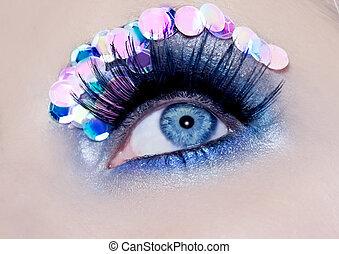 blaues auge, makro, closeup, aufmachung, pailletten, bunte