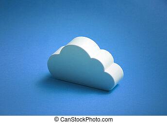 blaues, aus, FORM, hintergrund, weißes, Wolke