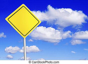 blaues, aus, himmelsgewölbe, zeichen, sicherheit, straße