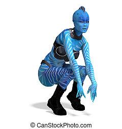 blaues, ausschnitt, aus, übertragung, weibliche , alien., pfad, schatten, weißes, 3d