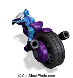 blaues, ausschnitt, aus, bike., ausländer, übertragung, weibliche , pfad, schatten, weißes, zukunftsidee, 3d