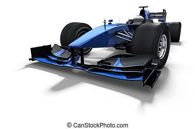 blaues auto, rennen, -, schwarz