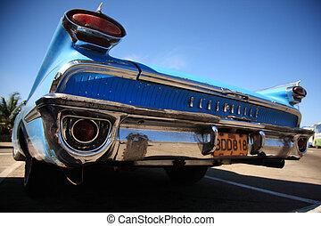 blaues auto, stoßstange, havana