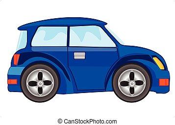 blaues auto, vektor, abbildung
