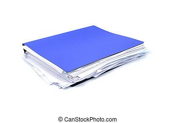 blaues, büroordner, dokumente, datei