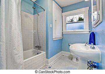 Blaues, Badezimmer, Licht, Bad, Dusche, Töne, Inneneinrichtung, Wanne