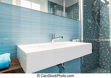 Blaues, Badezimmer, Modern