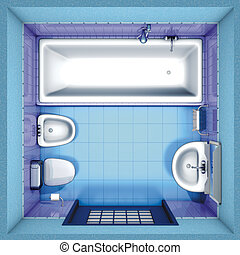 blaues, badezimmer, oberseite