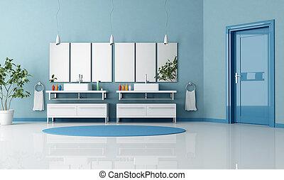 blaues, badezimmer, zeitgenössisch