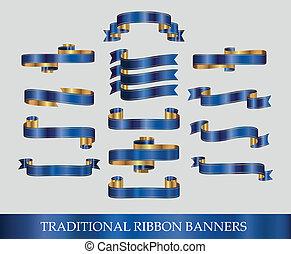 blaues, banner, geschenkband, sammlung