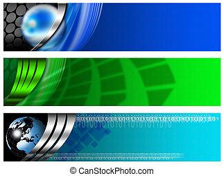 blaues, banner, technologisch, drei