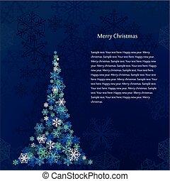 blaues, baum, schneeflocken, hintergrund, weihnachten
