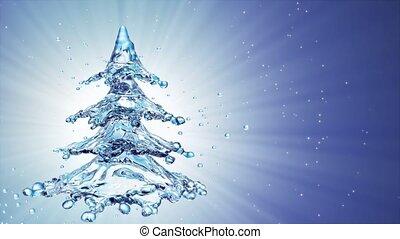 blaues, baum, wasser, spritzen, hintergrund, weihnachten