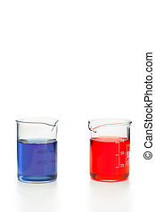 blaues, becher, flüssiglkeit, rotes