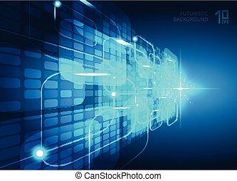 blaues, begriff, explosion, raum, licht, abstrakt, text., virtuell, perspektive, hintergrund, digital, quadrate, technologie, dein, zukunftsidee