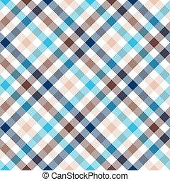 blaues, beige, diagonal, überprüfen hemd, seamless,...