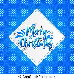 blaues, beschriftung, hintergrund, abbildung, vektor, frohe weihnacht