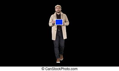 blaues, besitz, tablette, mockup, schirm, attraktive, schlüssel, alpha-kanal, mann