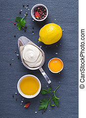 blaues, bestandteile, tuch, hintergrund, mayonnaise, soße