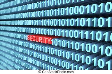 blaues, binärcode, sicherheit, begriff