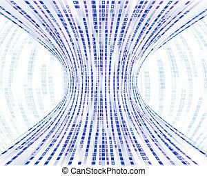 blaues, binärcode, wesen, zusammengezogen, kästen, durch, strömend, bottleneck, darstellen