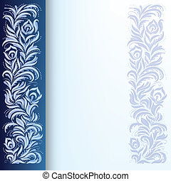 blaues, blumen-, abstrakt, verzierung, hintergrund