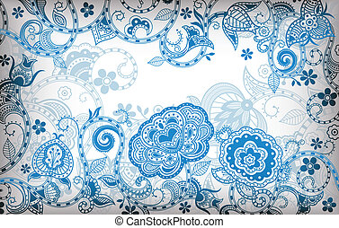 blaues, blumen-, abstrakt