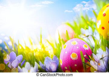 blaues, blumen, bunte, Eier, Dekoriert, gras, Ostern