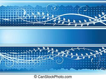 blaues, blumen-, hintergrund