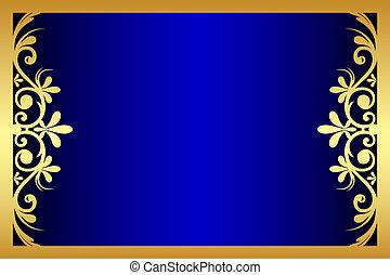 blaues, blumen-, rahmen, vektor