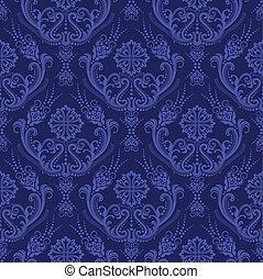blaues, blumen-, tapete, luxus, damast