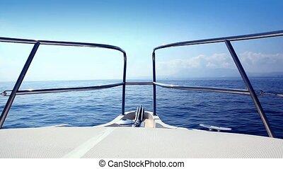 blaues boot, meer, gelassen, segeln